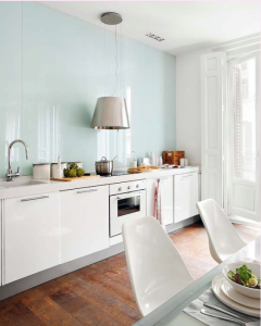 frontal cocina en vidrio lacado lacoberl polar white